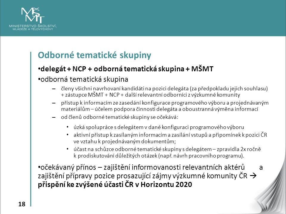 18 Odborné tematické skupiny delegát + NCP + odborná tematická skupina + MŠMT odborná tematická skupina – členy všichni navrhovaní kandidáti na pozici delegáta (za předpokladu jejich souhlasu) + zástupce MŠMT + NCP + další relevantní odborníci z výzkumné komunity – přístup k informacím ze zasedání konfigurace programového výboru a projednávaným materiálům – účelem podpora činnosti delegáta a oboustranná výměna informací – od členů odborné tematické skupiny se očekává: úzká spolupráce s delegátem v dané konfiguraci programového výboru aktivní přístup k zasílaným informacím a zasílání vstupů a připomínek k pozici ČR ve vztahu k projednávaným dokumentům; účast na schůzce odborné tematické skupiny s delegátem – zpravidla 2x ročně k prodiskutování důležitých otázek (např.