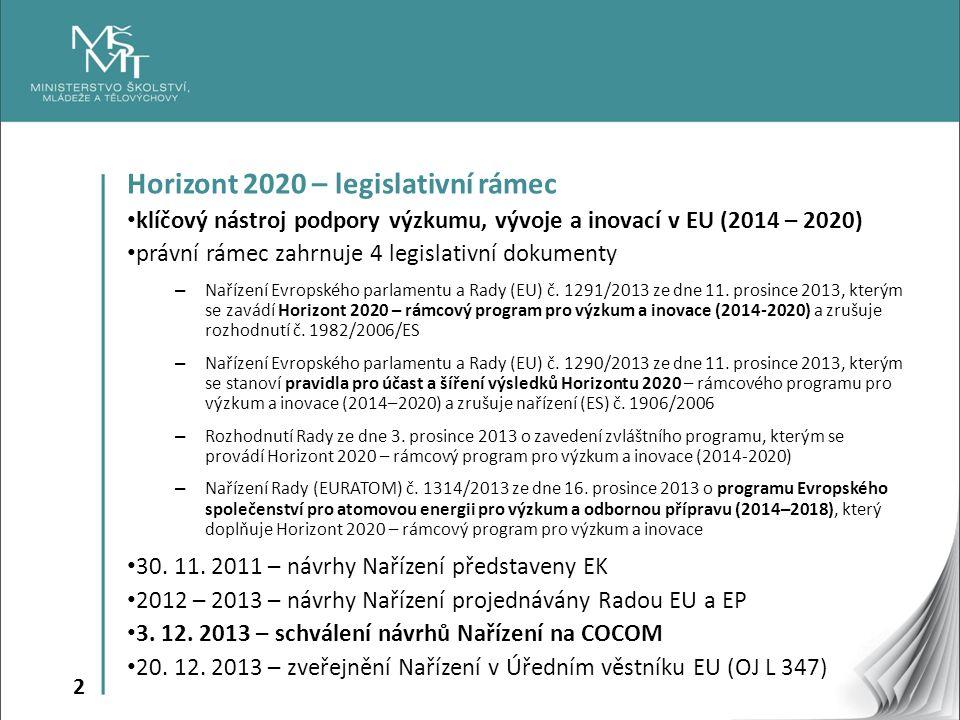 13 Horizont 2020 – specifické cíle Šíření excelence a rozšiřování účasti  prostřednictvím cílených opatření snížit rozdíly ve výzkumné a inovační výkonnosti napříč členskými státy EU – Rozpočet: 816,5 mil.