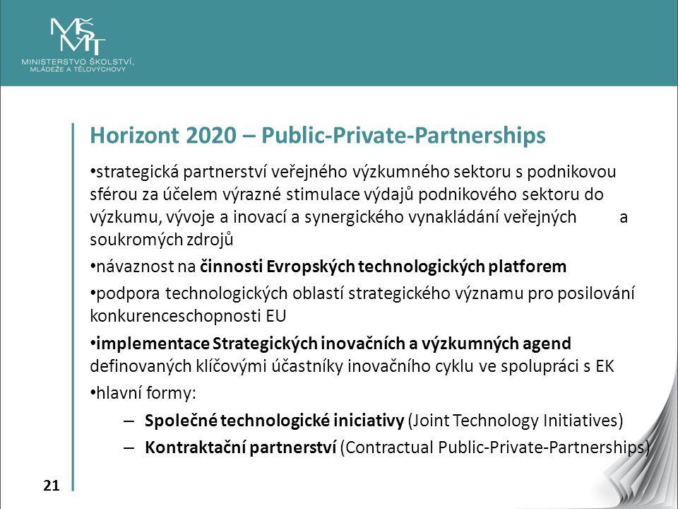 21 Horizont 2020 – Public-Private-Partnerships strategická partnerství veřejného výzkumného sektoru s podnikovou sférou za účelem výrazné stimulace výdajů podnikového sektoru do výzkumu, vývoje a inovací a synergického vynakládání veřejných a soukromých zdrojů návaznost na činnosti Evropských technologických platforem podpora technologických oblastí strategického významu pro posilování konkurenceschopnosti EU implementace Strategických inovačních a výzkumných agend definovaných klíčovými účastníky inovačního cyklu ve spolupráci s EK hlavní formy: – Společné technologické iniciativy (Joint Technology Initiatives) – Kontraktační partnerství (Contractual Public-Private-Partnerships)