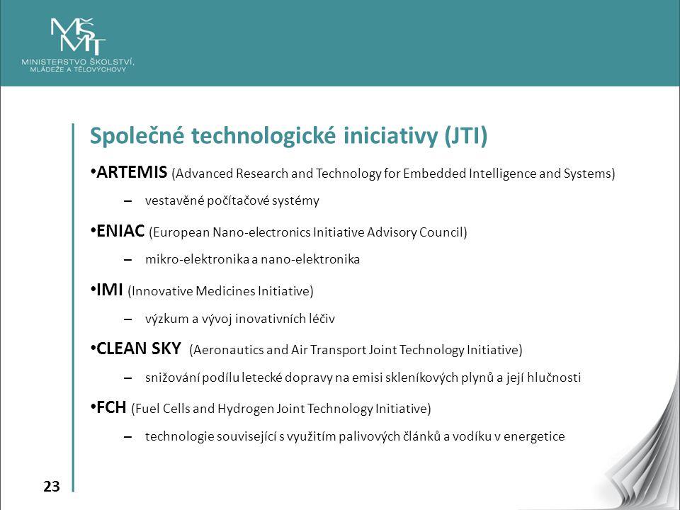 23 Společné technologické iniciativy (JTI) ARTEMIS (Advanced Research and Technology for Embedded Intelligence and Systems) – vestavěné počítačové systémy ENIAC (European Nano-electronics Initiative Advisory Council) – mikro-elektronika a nano-elektronika IMI (Innovative Medicines Initiative) – výzkum a vývoj inovativních léčiv CLEAN SKY (Aeronautics and Air Transport Joint Technology Initiative) – snižování podílu letecké dopravy na emisi skleníkových plynů a její hlučnosti FCH (Fuel Cells and Hydrogen Joint Technology Initiative) – technologie související s využitím palivových článků a vodíku v energetice