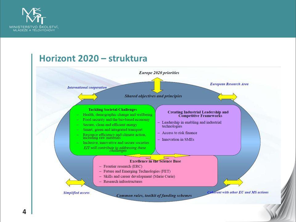 5 programové sekce – Excelentní věda (Excellent Science) – Vedoucí postavení v průmyslu (Industrial Leadership) – Společenské výzvy (Societal Challenges) specifické cíle – Šíření excelence a rozšiřování účasti (Spreading Excellence & Widening Participation) – Věda se společností a pro společnost (Science with and for Society) – Evropský inovační a technologický institut (European Institute of Innovation & Technology) – Evropské společenství pro atomovou energii (EURATOM)