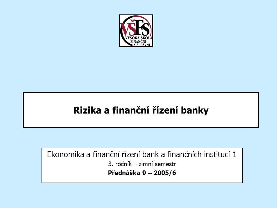 Rizika a finanční řízení banky Ekonomika a finanční řízení bank a finančních institucí 1 3. ročník – zimní semestr Přednáška 9 – 2005/6