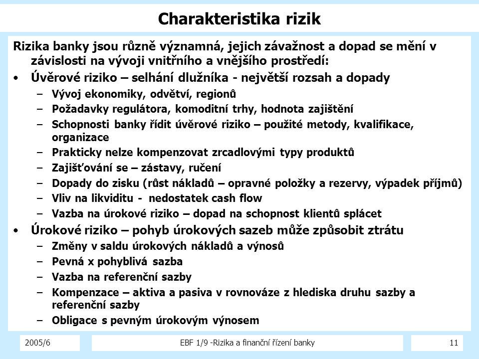 2005/6EBF 1/9 -Rizika a finanční řízení banky11 Charakteristika rizik Rizika banky jsou různě významná, jejich závažnost a dopad se mění v závislosti
