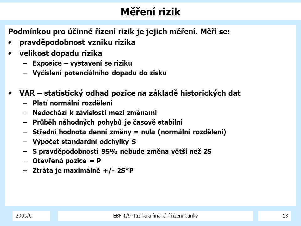 2005/6EBF 1/9 -Rizika a finanční řízení banky13 Měření rizik Podmínkou pro účinné řízení rizik je jejich měření. Měří se: pravděpodobnost vzniku rizik