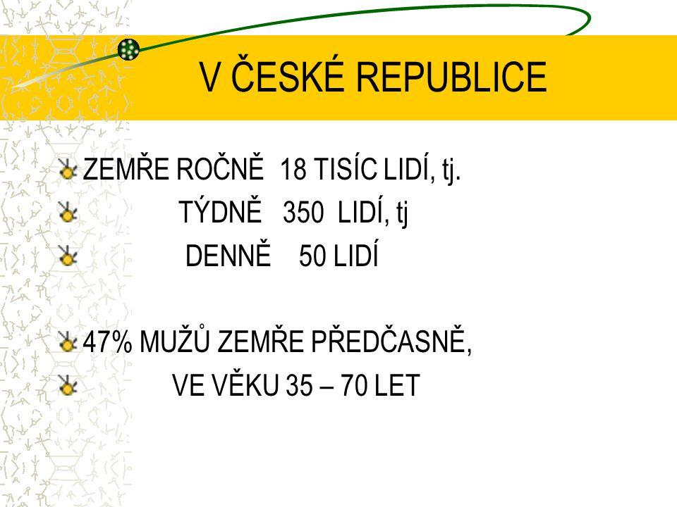 V ČESKÉ REPUBLICE ZEMŘE ROČNĚ 18 TISÍC LIDÍ, tj. TÝDNĚ 350 LIDÍ, tj DENNĚ 50 LIDÍ 47% MUŽŮ ZEMŘE PŘEDČASNĚ, VE VĚKU 35 – 70 LET
