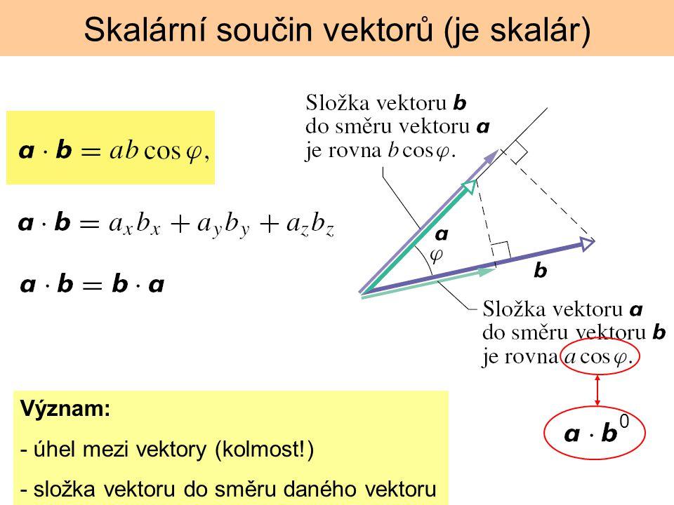 Vektorový součin vektorů (je vektor) menší z obou úhlů