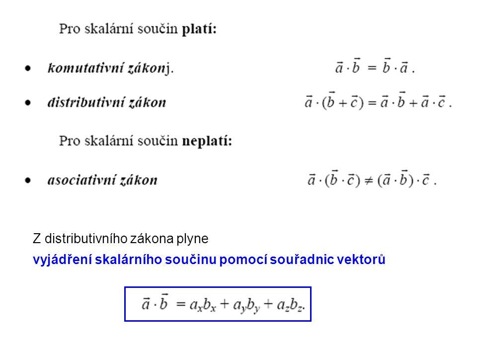 Z distributivního zákona plyne vyjádření skalárního součinu pomocí souřadnic vektorů
