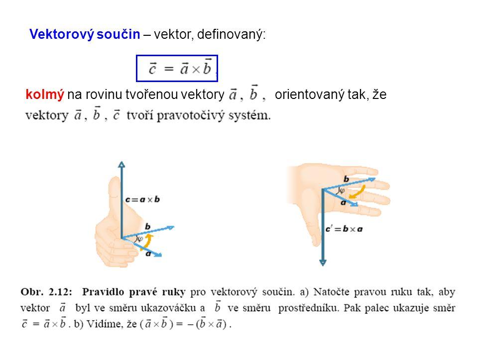 Vektorový součin – vektor, definovaný: kolmý na rovinu tvořenou vektory orientovaný tak, že