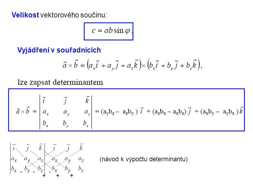 Velikost vektorového součinu: Vyjádření v souřadnicích +++ --- (návod k výpočtu determinantu)