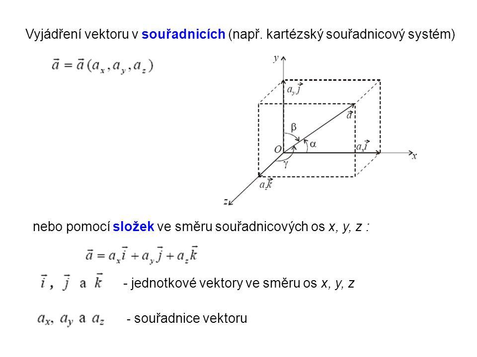 Vyjádření vektoru v souřadnicích (např. kartézský souřadnicový systém) nebo pomocí složek ve směru souřadnicových os x, y, z : - jednotkové vektory ve