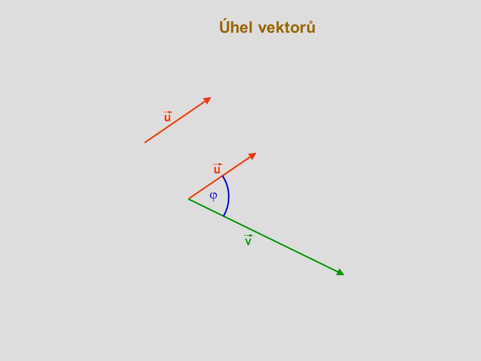 Úhel vektorů v C A u  B u - v V souřadnicích: