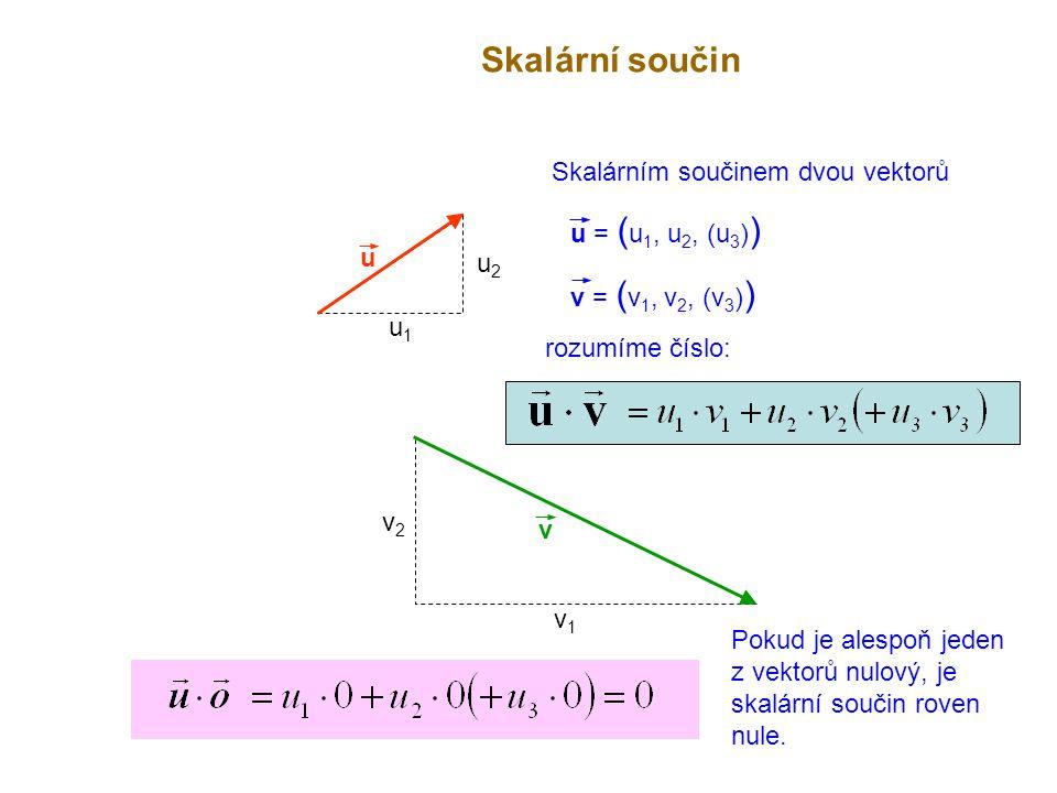 u Skalární součin v u1u1 u2u2 v1v1 v2v2 Skalárním součinem dvou vektorů u = ( u 1, u 2, (u 3 ) ) v = ( v 1, v 2, (v 3 ) ) rozumíme číslo: Pokud je ale