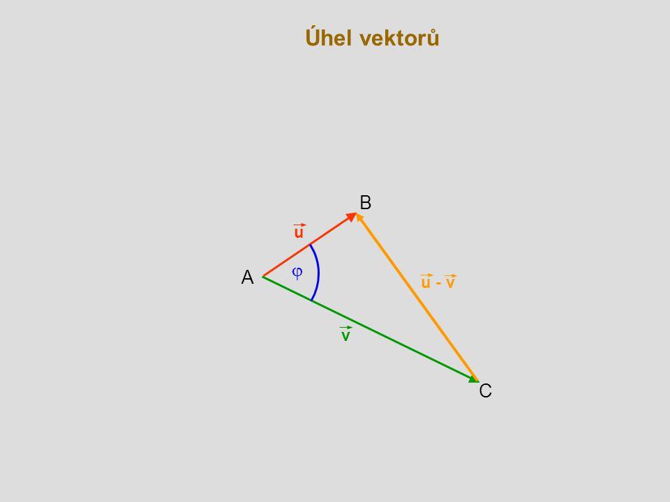 Úhel vektorů v C A u  B u - v