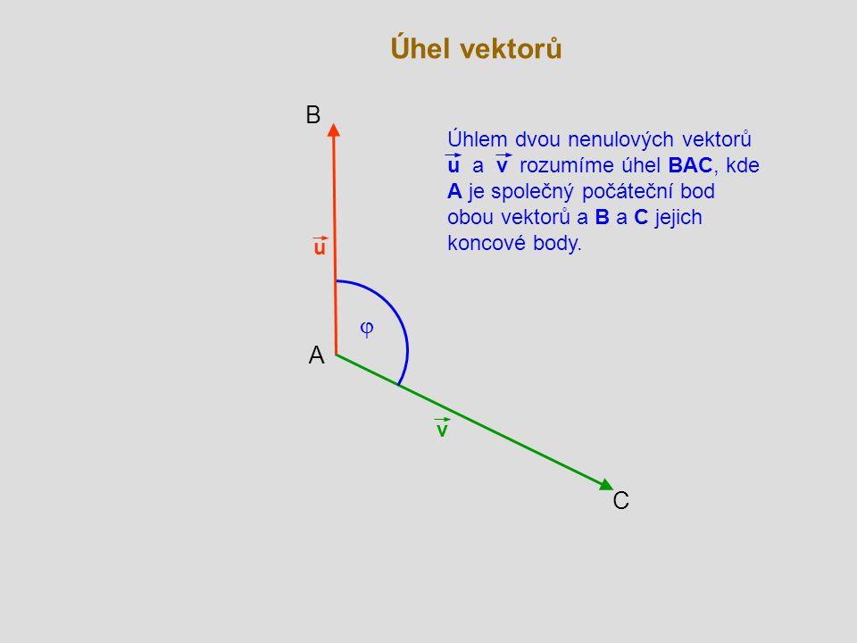 v u  B C A Úhlem dvou nenulových vektorů u a v rozumíme úhel BAC, kde A je společný počáteční bod obou vektorů a B a C jejich koncové body.
