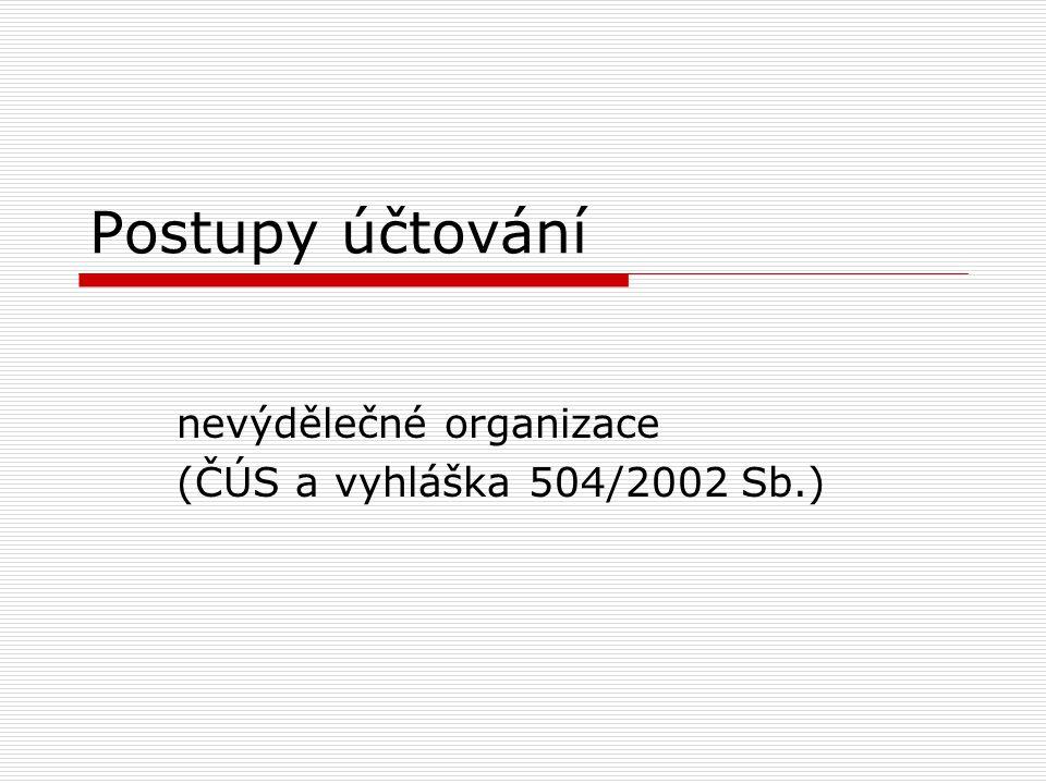 Postupy účtování nevýdělečné organizace (ČÚS a vyhláška 504/2002 Sb.)