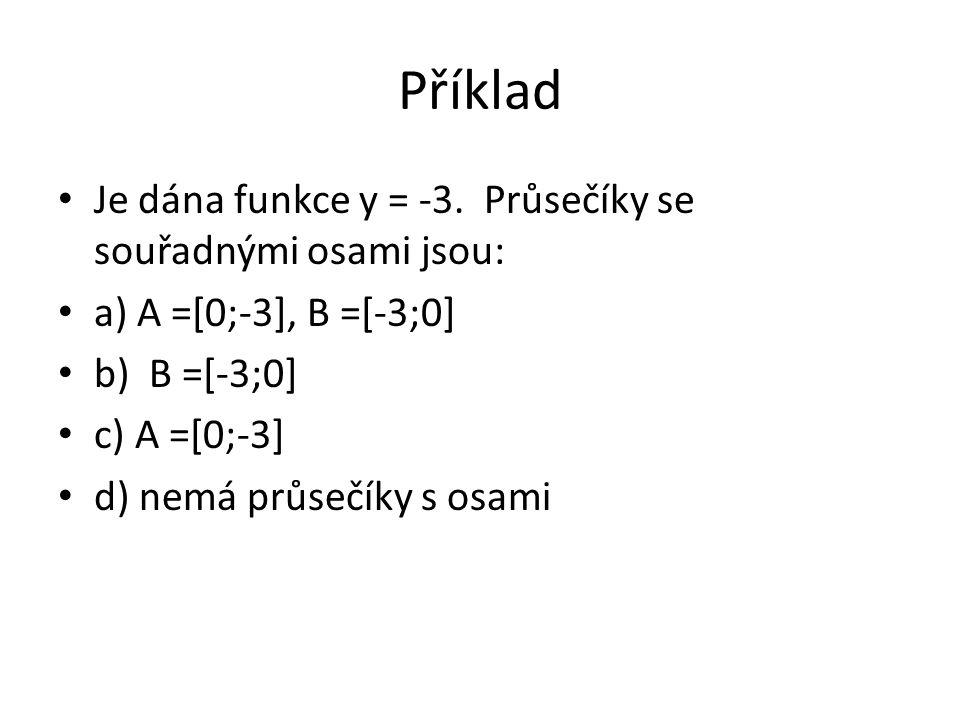 Příklad Je dána funkce y = -3.
