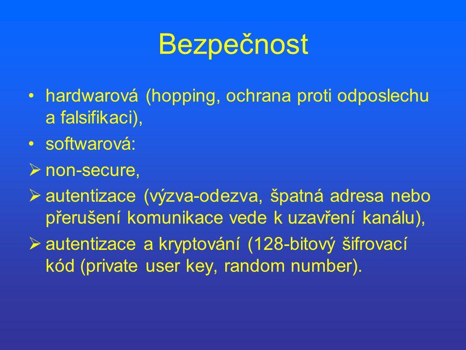 Bezpečnost hardwarová (hopping, ochrana proti odposlechu a falsifikaci), softwarová:  non-secure,  autentizace (výzva-odezva, špatná adresa nebo přerušení komunikace vede k uzavření kanálu),  autentizace a kryptování (128-bitový šifrovací kód (private user key, random number).