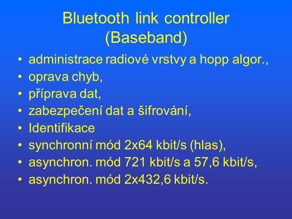 Bluetooth link controller (Baseband) administrace radiové vrstvy a hopp algor., oprava chyb, příprava dat, zabezpečení dat a šifrování, Identifikace synchronní mód 2x64 kbit/s (hlas), asynchron.