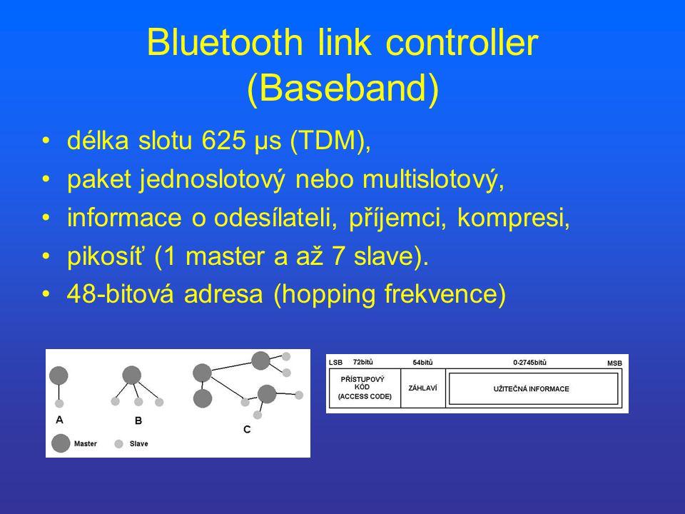 Bluetooth link controller (Baseband) délka slotu 625 µs (TDM), paket jednoslotový nebo multislotový, informace o odesílateli, příjemci, kompresi, pikosíť (1 master a až 7 slave).