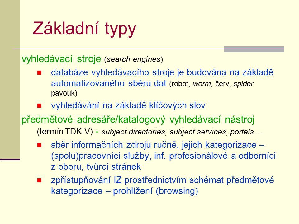 Základní typy vyhledávací stroje (search engines) databáze vyhledávacího stroje je budována na základě automatizovaného sběru dat (robot, worm, červ,