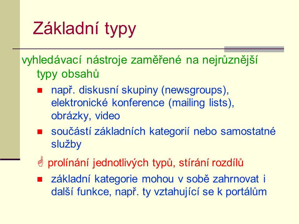 Základní typy vyhledávací nástroje zaměřené na nejrůznější typy obsahů např. diskusní skupiny (newsgroups), elektronické konference (mailing lists), o