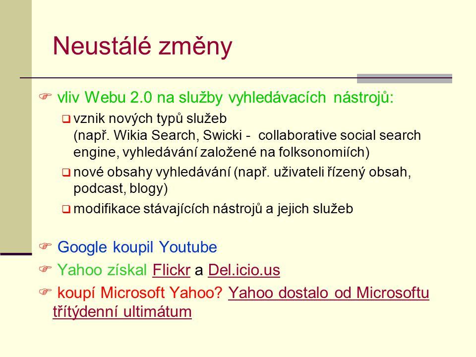 Neustálé změny  vliv Webu 2.0 na služby vyhledávacích nástrojů:  vznik nových typů služeb (např. Wikia Search, Swicki - collaborative social search
