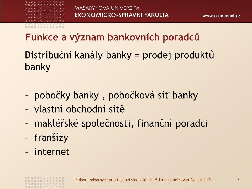 www.econ.muni.cz Funkce a význam bankovních poradců Distribuční kanály banky = prodej produktů banky -pobočky banky, pobočková síť banky -vlastní obchodní sítě -makléřské společnosti, finanční poradci -franšízy -internet 2 Podpora odborných praxí a stáží studentů ESF MU u budoucích zaměstnavatelů