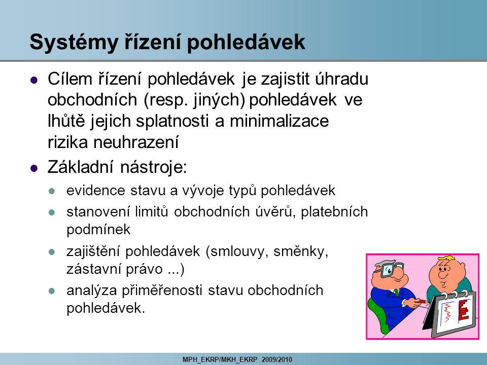 MPH_EKRP/MKH_EKRP 2009/2010 Systémy řízení pohledávek Cílem řízení pohledávek je zajistit úhradu obchodních (resp.