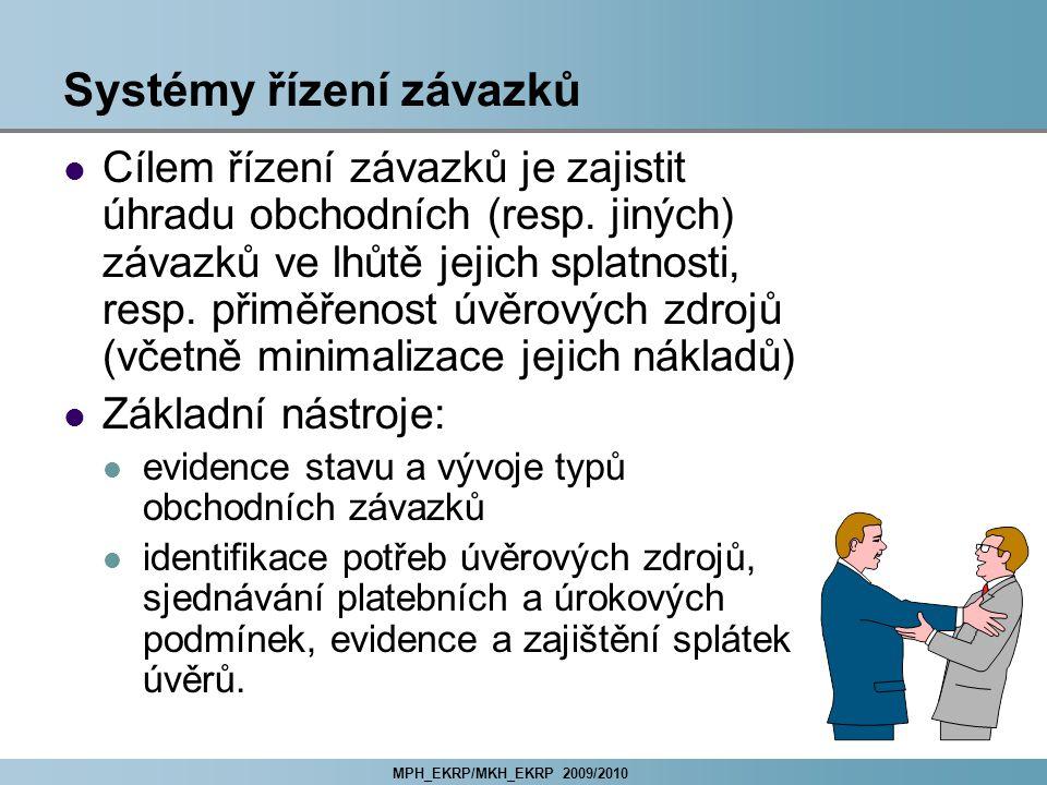 MPH_EKRP/MKH_EKRP 2009/2010 Systémy řízení závazků Cílem řízení závazků je zajistit úhradu obchodních (resp.