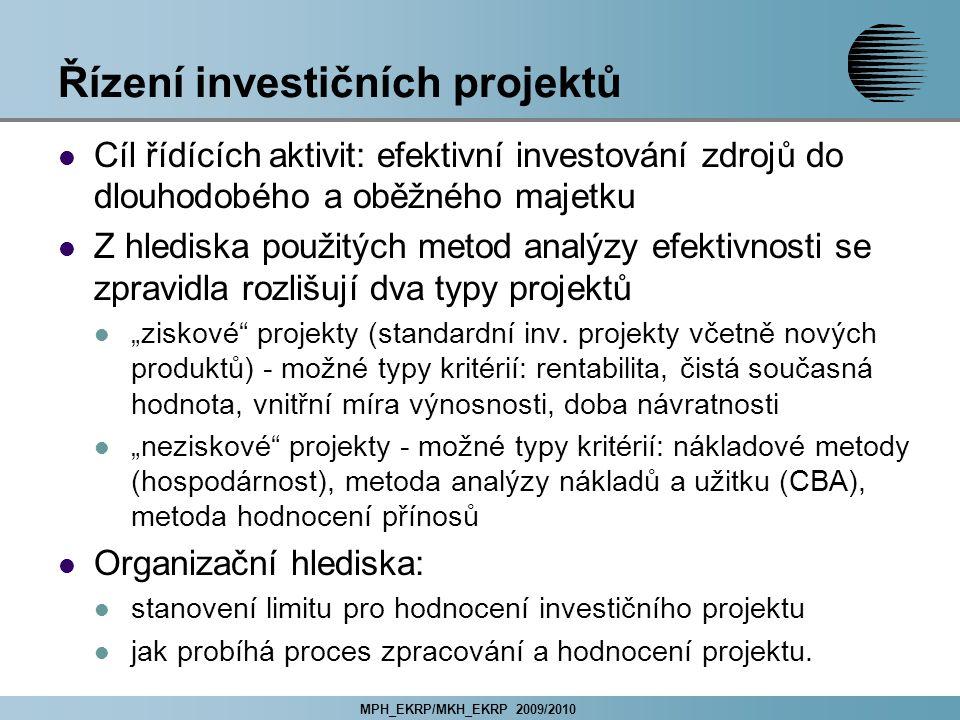 """MPH_EKRP/MKH_EKRP 2009/2010 Řízení investičních projektů Cíl řídících aktivit: efektivní investování zdrojů do dlouhodobého a oběžného majetku Z hlediska použitých metod analýzy efektivnosti se zpravidla rozlišují dva typy projektů """"ziskové projekty (standardní inv."""