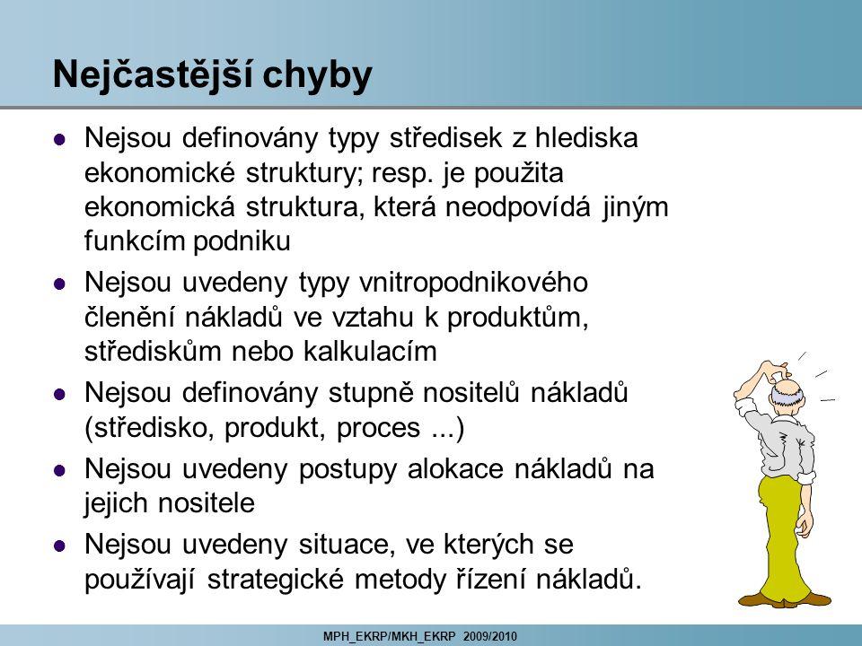 MPH_EKRP/MKH_EKRP 2009/2010 Nejčastější chyby Nejsou definovány typy středisek z hlediska ekonomické struktury; resp.