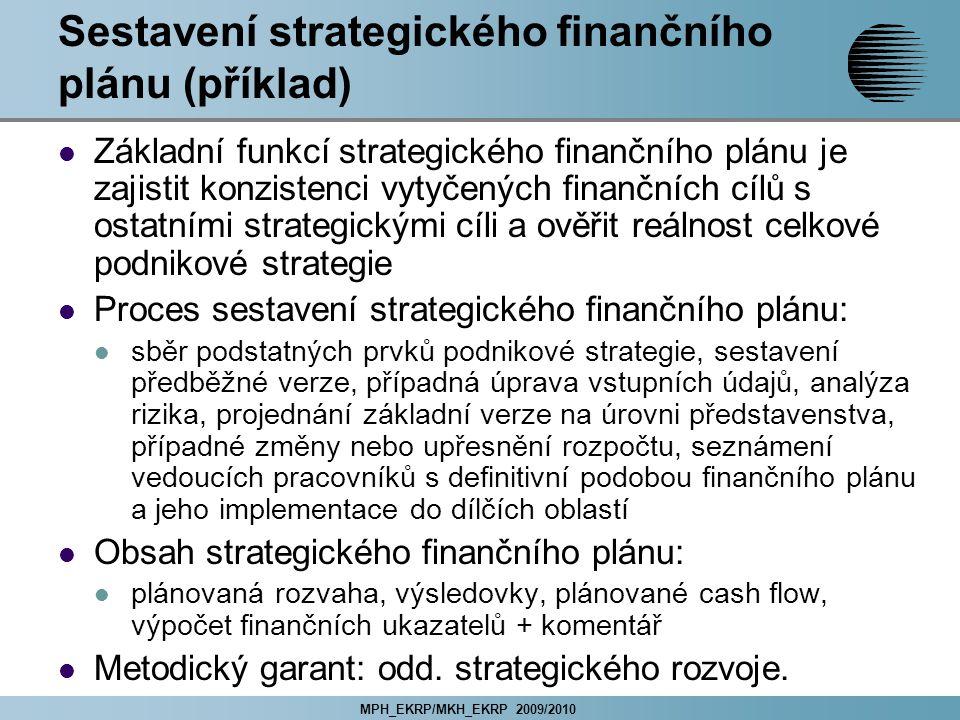 MPH_EKRP/MKH_EKRP 2009/2010 Sestavení strategického finančního plánu (příklad) Základní funkcí strategického finančního plánu je zajistit konzistenci vytyčených finančních cílů s ostatními strategickými cíli a ověřit reálnost celkové podnikové strategie Proces sestavení strategického finančního plánu: sběr podstatných prvků podnikové strategie, sestavení předběžné verze, případná úprava vstupních údajů, analýza rizika, projednání základní verze na úrovni představenstva, případné změny nebo upřesnění rozpočtu, seznámení vedoucích pracovníků s definitivní podobou finančního plánu a jeho implementace do dílčích oblastí Obsah strategického finančního plánu: plánovaná rozvaha, výsledovky, plánované cash flow, výpočet finančních ukazatelů + komentář Metodický garant: odd.