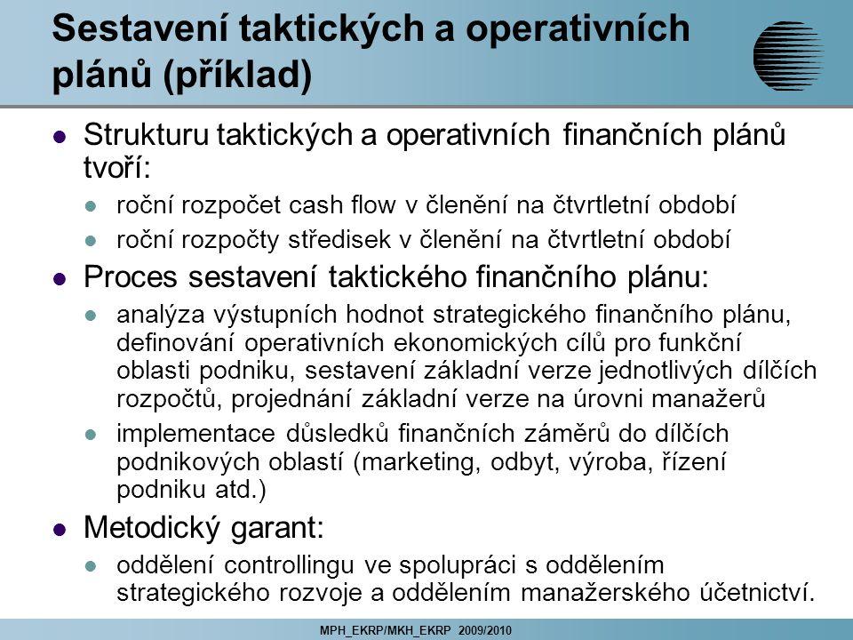 MPH_EKRP/MKH_EKRP 2009/2010 Sestavení taktických a operativních plánů (příklad) Strukturu taktických a operativních finančních plánů tvoří: roční rozpočet cash flow v členění na čtvrtletní období roční rozpočty středisek v členění na čtvrtletní období Proces sestavení taktického finančního plánu: analýza výstupních hodnot strategického finančního plánu, definování operativních ekonomických cílů pro funkční oblasti podniku, sestavení základní verze jednotlivých dílčích rozpočtů, projednání základní verze na úrovni manažerů implementace důsledků finančních záměrů do dílčích podnikových oblastí (marketing, odbyt, výroba, řízení podniku atd.) Metodický garant: oddělení controllingu ve spolupráci s oddělením strategického rozvoje a oddělením manažerského účetnictví.
