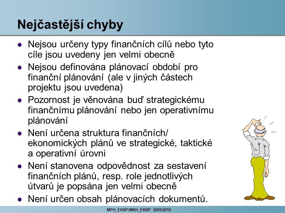 MPH_EKRP/MKH_EKRP 2009/2010 Nejčastější chyby Nejsou určeny typy finančních cílů nebo tyto cíle jsou uvedeny jen velmi obecně Nejsou definována plánovací období pro finanční plánování (ale v jiných částech projektu jsou uvedena) Pozornost je věnována buď strategickému finančnímu plánování nebo jen operativnímu plánování Není určena struktura finančních/ ekonomických plánů ve strategické, taktické a operativní úrovni Není stanovena odpovědnost za sestavení finančních plánů, resp.