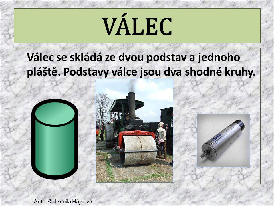 VÁLEC Válec se skládá ze dvou podstav a jednoho pláště. Podstavy válce jsou dva shodné kruhy. Autor © Jarmila Hájková.