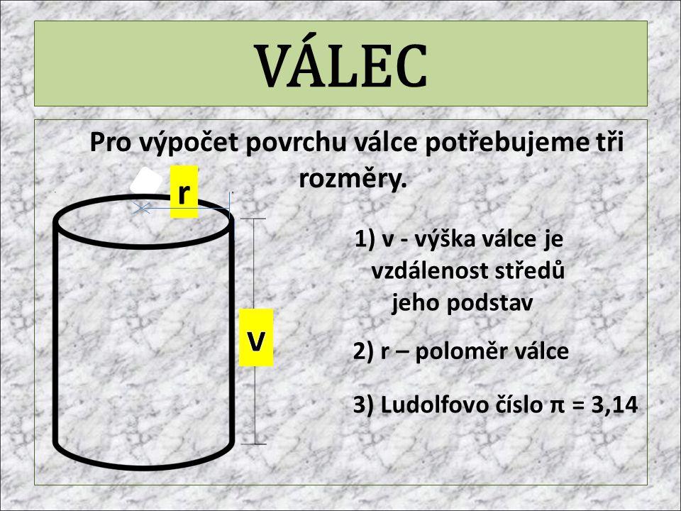 VÁLEC Pro výpočet povrchu válce potřebujeme tři rozměry. 1) v - výška válce je vzdálenost středů jeho podstav 2) r – poloměr válce r 3) Ludolfovo čísl