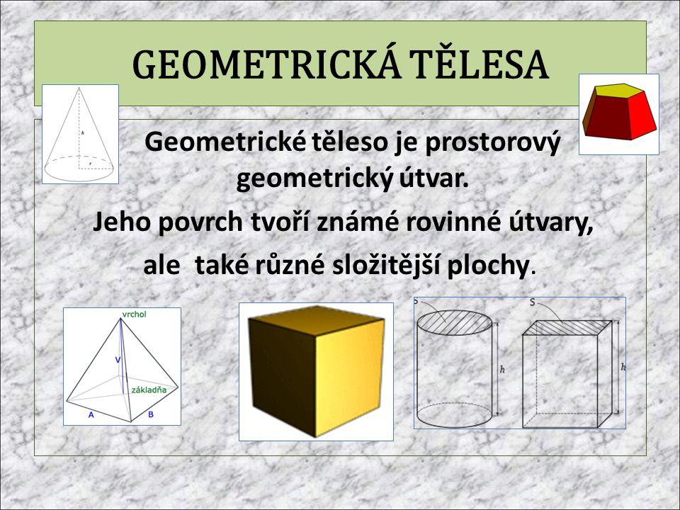 GEOMETRICKÁ TĚLESA Geometrické těleso je prostorový geometrický útvar. Jeho povrch tvoří známé rovinné útvary, ale také různé složitější plochy.