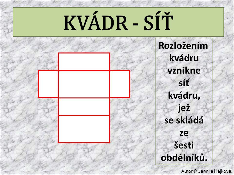KVÁDR - SÍŤ Rozložením kvádru vznikne síť kvádru, jež se skládá ze šesti obdélníků. Autor © Jarmila Hájková.