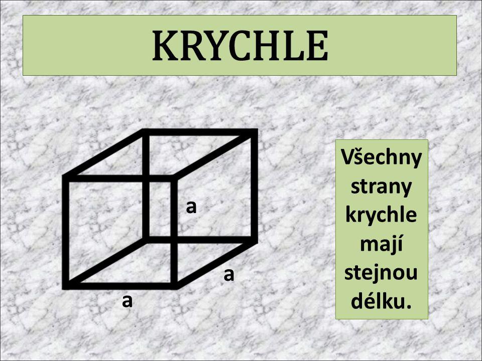 KRYCHLE Všechny strany krychle mají stejnou délku. a a a
