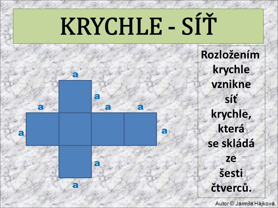 KRYCHLE - SÍŤ Rozložením krychle vznikne síť krychle, která se skládá ze šesti čtverců. a a a a a a a a a Autor © Jarmila Hájková.