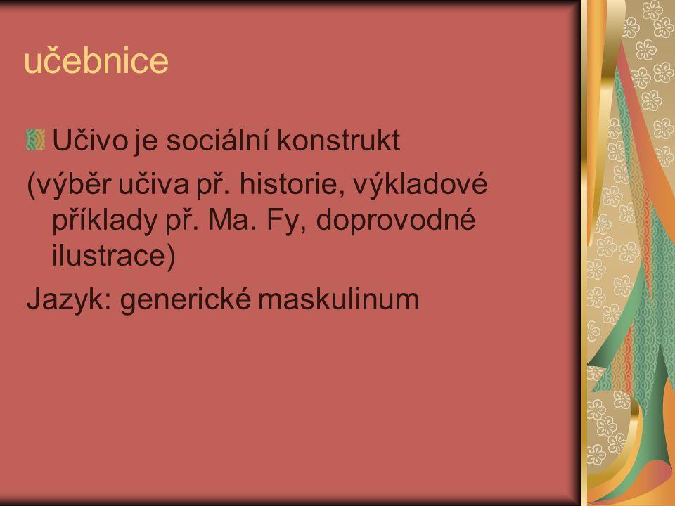učebnice Učivo je sociální konstrukt (výběr učiva př. historie, výkladové příklady př. Ma. Fy, doprovodné ilustrace) Jazyk: generické maskulinum