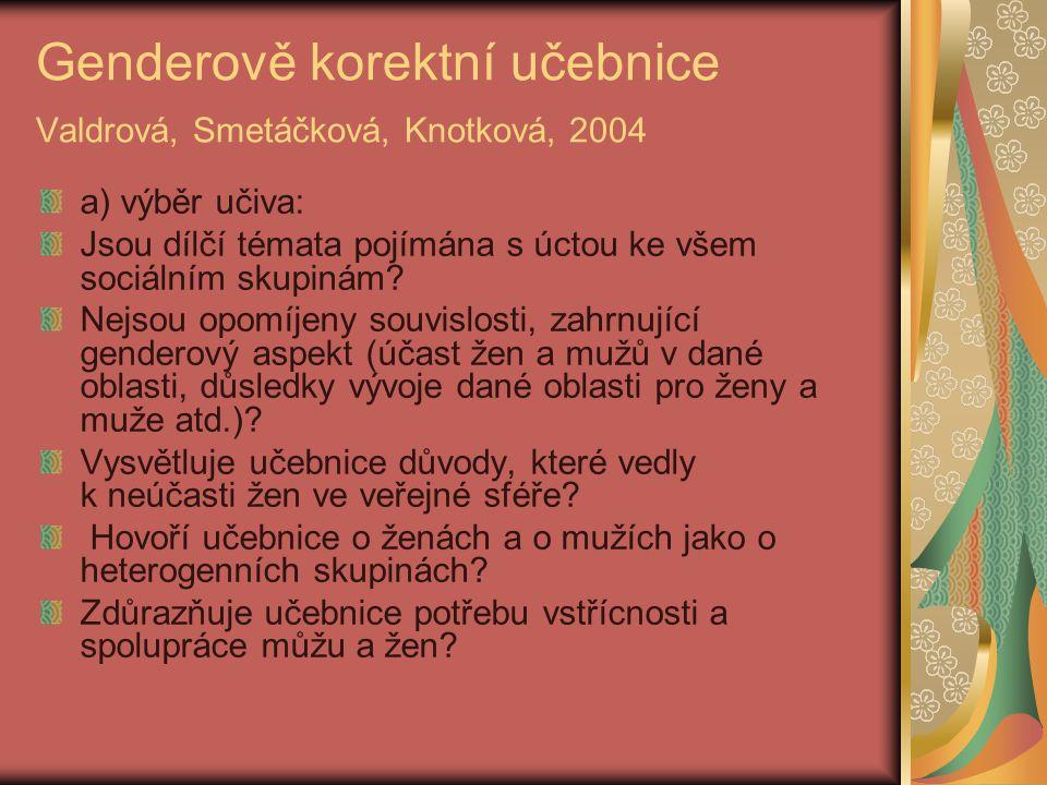 Genderově korektní učebnice Valdrová, Smetáčková, Knotková, 2004 a) výběr učiva: Jsou dílčí témata pojímána s úctou ke všem sociálním skupinám? Nejsou