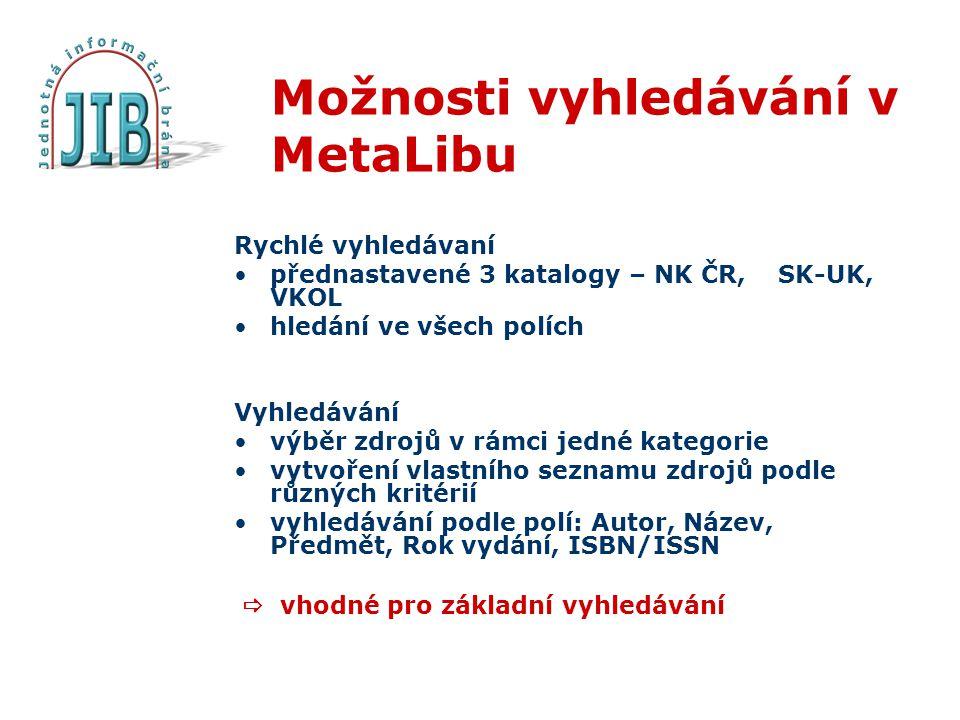 Možnosti vyhledávání v MetaLibu Rychlé vyhledávaní přednastavené 3 katalogy – NK ČR, SK-UK, VKOL hledání ve všech polích Vyhledávání výběr zdrojů v rámci jedné kategorie vytvoření vlastního seznamu zdrojů podle různých kritérií vyhledávání podle polí: Autor, Název, Předmět, Rok vydání, ISBN/ISSN  vhodné pro základní vyhledávání