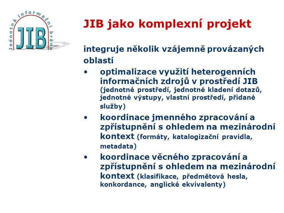 JIB jako komplexní projekt integruje několik vzájemně provázaných oblastí optimalizace využití heterogenních informačních zdrojů v prostředí JIB (jednotné prostředí, jednotné kladení dotazů, jednotné výstupy, vlastní prostředí, přidané služby) koordinace jmenného zpracování a zpřístupnění s ohledem na mezinárodní kontext (formáty, katalogizační pravidla, metadata) koordinace věcného zpracování a zpřístupnění s ohledem na mezinárodní kontext (klasifikace, předmětová hesla, konkordance, anglické ekvivalenty)