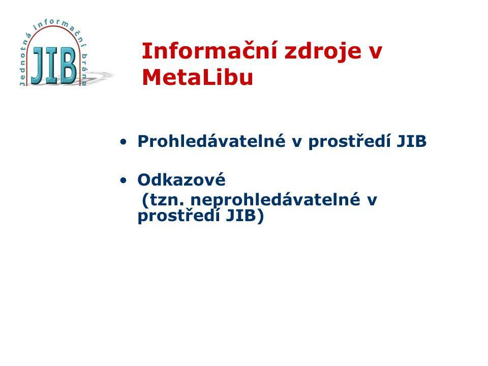 Informační zdroje v MetaLibu Prohledávatelné v prostředí JIB Odkazové (tzn.
