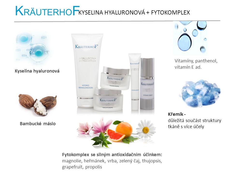K RÄUTERHO F KYSELINA HYALURONOVÁ + FYTOKOMPLEX Kyselina hyaluronová Bambucké máslo Fytokomplex se silným antioxidačním účinkem: magnolie, heřmánek, v