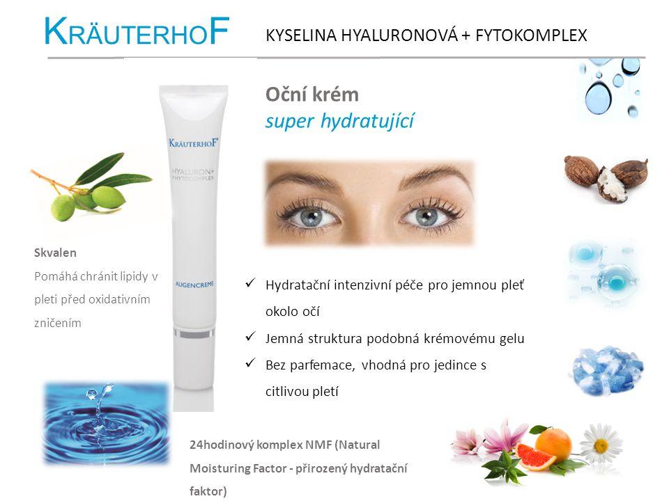 K RÄUTERHO F KYSELINA HYALURONOVÁ + FYTOKOMPLEX Oční krém super hydratující Hydratační intenzivní péče pro jemnou pleť okolo očí Jemná struktura podob