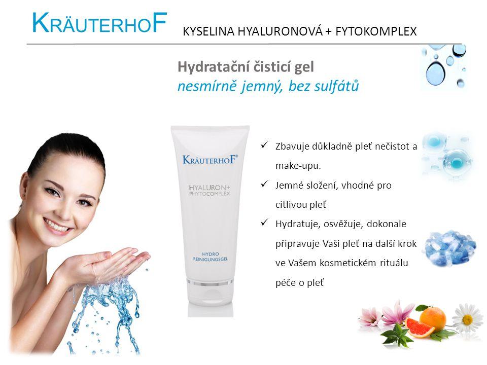 K RÄUTERHO F KYSELINA HYALURONOVÁ + FYTOKOMPLEX Hydratační čisticí gel nesmírně jemný, bez sulfátů Zbavuje důkladně pleť nečistot a make-upu. Jemné sl
