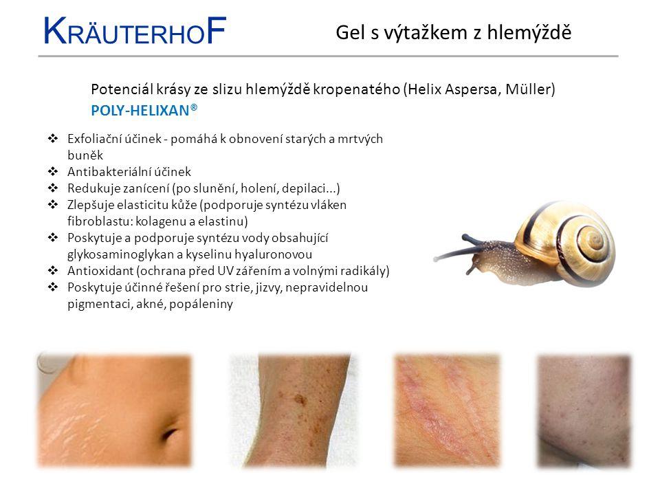 K RÄUTERHO F Potenciál krásy ze slizu hlemýždě kropenatého (Helix Aspersa, Müller)  Exfoliační účinek - pomáhá k obnovení starých a mrtvých buněk  A