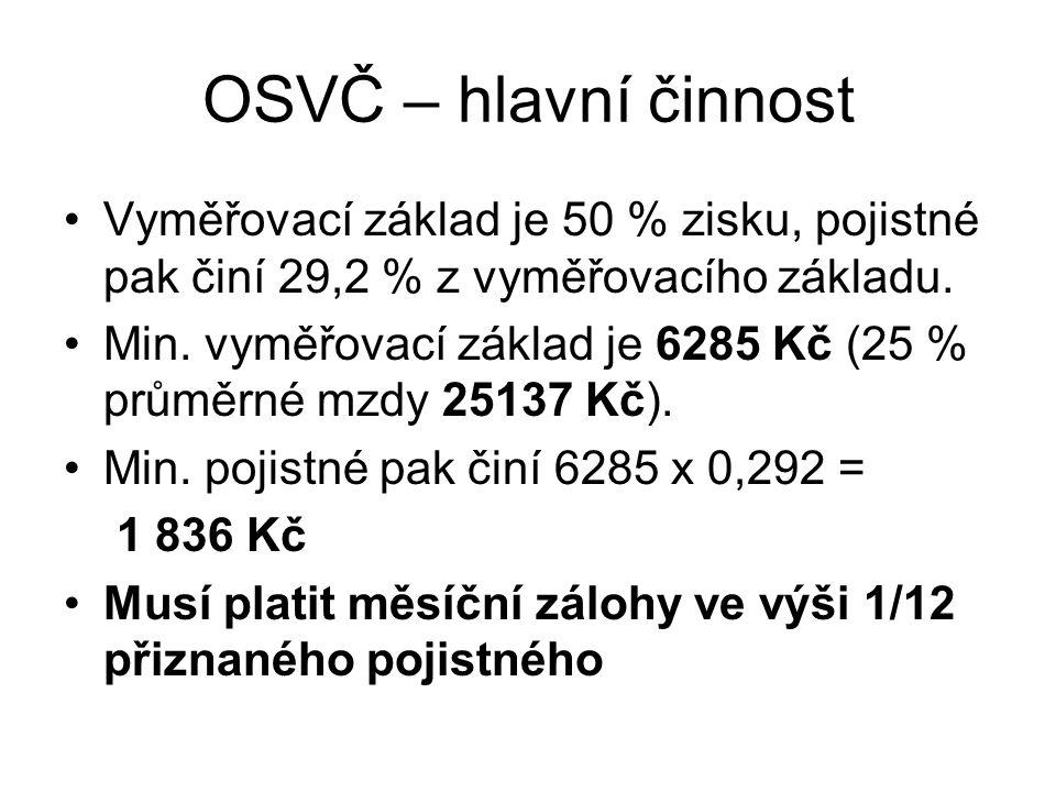 OSVČ – hlavní činnost Vyměřovací základ je 50 % zisku, pojistné pak činí 29,2 % z vyměřovacího základu. Min. vyměřovací základ je 6285 Kč (25 % průměr